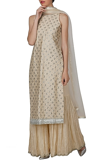 Beige Embroidered Sharara Set by Priyanka Jain