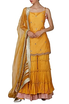Mustard Embroidered Sharara Set by Priyanka Jain