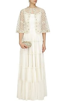 Off White Maxi Dress and Embroidered Short Cape Set by Priyanka Jain
