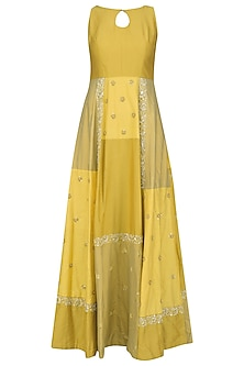 Yellow Floral Embroidered Color Block Maxi Dress by Priyanka Jain