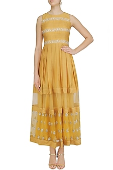 Yellow Floral Embroidered Maxi Dress by Priyanka Jain