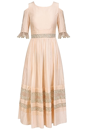 Powder Pink Embroidered Cold Shoulder Midi Dress by Priyanka Jain
