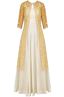 Ivory Maxi Dress with Mustard Embroidered Jacket by Priyanka Jain