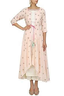 Ivory Kurta Set with Pink Embroidered Jacket by Priyanka Jain