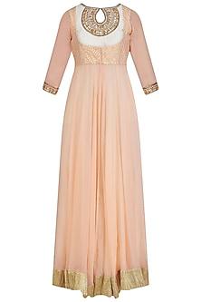 Pink Emboidered Maxi Dress by Priyanka Jain