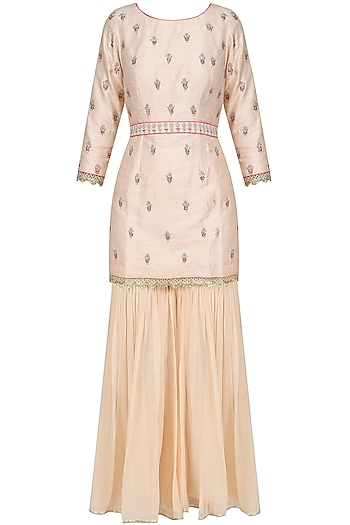 Pink Pearl and Thread Embroidered Sharara Set by Priyanka Jain