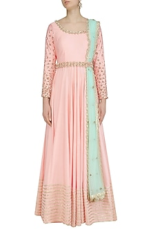Pink Sequins and Beads Embroidered Anarkali Set by Priyanka Jain
