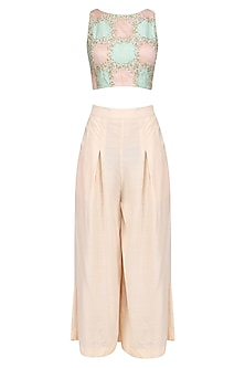 Pink and Blue Embroidered Crop Top with Pink Culottes by Priyanka Jain