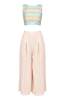 Pink and Blue Striped Crop Top with Pink Culottes by Priyanka Jain