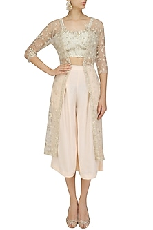 Dirty Light Pink Emboidered Jacket with Ivory Crop Top and Pink Culottes by Priyanka Jain
