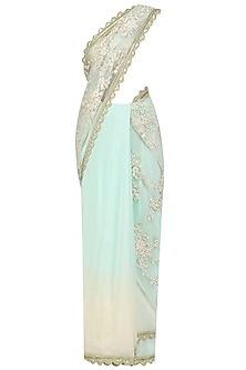 Aqua and Ivory Floral Embroidered Saree with Embellished Blouse by Priyanka Jain