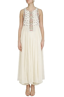 Ivory Embroidered Kurta and Palazzo Set by Priyanka Jain