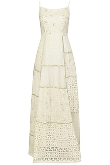 Ivory Embroidered Patches Maxi Dress by Priyanka Jain