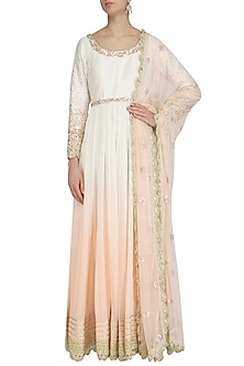 Peach and Ivory Ombre Embroidered Anarkali Set by Priyanka Jain