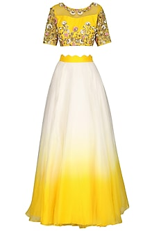 Yellow and Ivory Embroidered Lehenga Set by Priyanka Jain