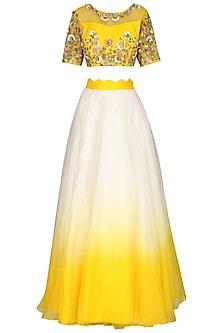 Yellow and Ivory Embroidered Lehenga Set by Priyanka Jain