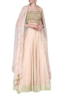 Peach Embroidered Lehenga Set by Priyanka Jain