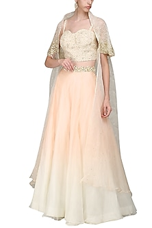 Peach and Ivory Crop Top with Skirt and Cape.