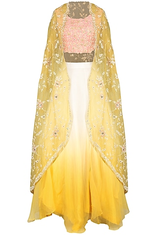 Yellow and Ivory Cape with Blouse and Skirt by Priyanka Jain