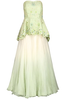 Mint Green Embroidered Jacket with Skirt and Stole by Priyanka Jain