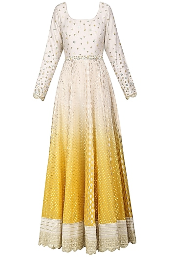 Yellow and Ivory Embroidered Anarkali Gown by Priyanka Jain