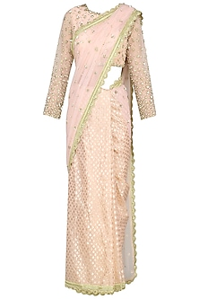 Peach Sequin Embroidered Saree by Priyanka Jain