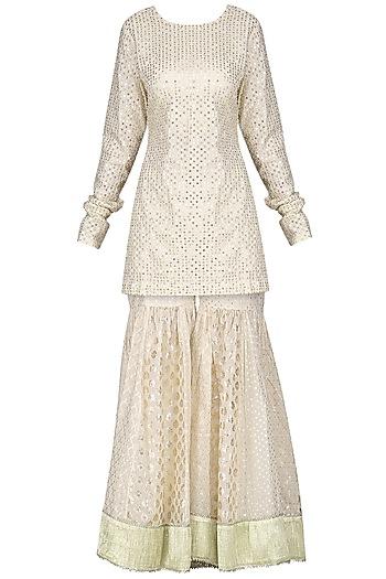 Ivory Embroidered Sharara Set by Priyanka Jain