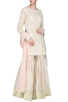 Ivory Embroidered Sharara Set by Priyanka Jain