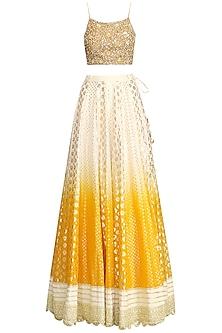 Yellow and Ivory Lehenga Set by Priyanka Jain