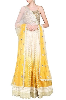 Yellow and Ivory Lehenga Set by Priyanka Jain-SHOP BY STYLE