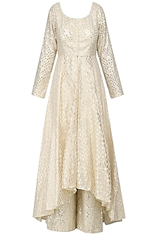Ivory Embroidered Kurta Set by Priyanka Jain