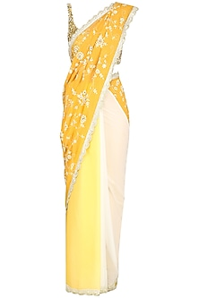 Yellow Ombre Embroidered Saree by Priyanka Jain
