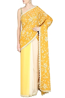 Yellow Ombre Embroidered Saree by Priyanka Jain