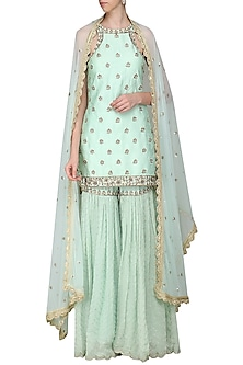 Mint Blue Embroidered Sharara Set by Priyanka Jain