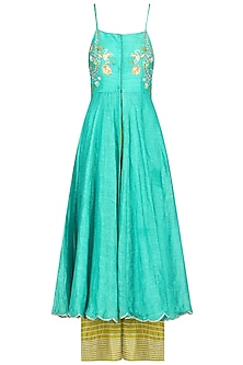 Turquoise Blue Embroidered Kurta with Green Palazzo Pants by Priyanka Jain