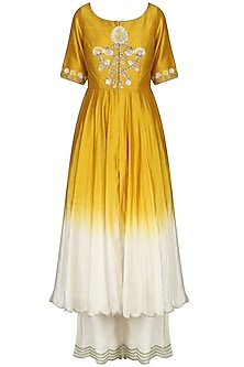 Yellow and Ivory Front Open Kurta with Palazzo Pants by Priyanka Jain