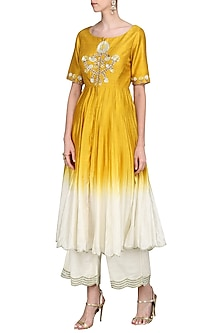 Yellow and Ivory Front Open Kurta with Palazzo Pants by Priyanka Jain