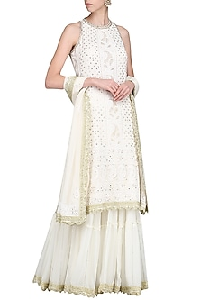 Ivory Lucknowi Embroidered Kurta with Skirt and Dupatta by Priyanka Jain