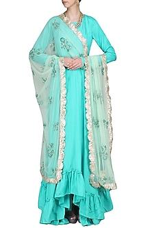 Blue High Low Anarkali Set by Priyanka Jain