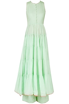 Mint Green Tiered Anarkali Set by Priyanka Jain