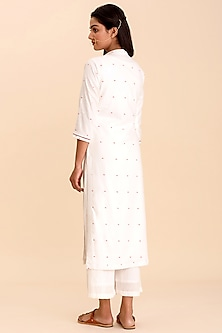 White Crop Top With Cape, Pants, & Dupatta by Pasha