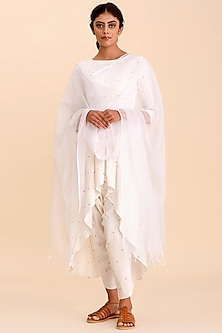 White Asymmetrical Kurta Set by Pasha