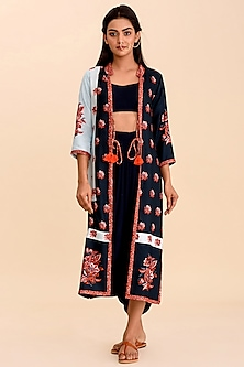 Navy Blue Textured Skirt Set With Patch Work by Pasha