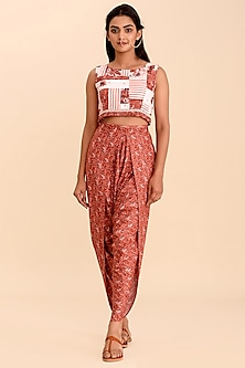 Red Crop Top With Printed Dhoti Pants by Pasha