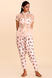 Powder Pink Printed Dhoti Pants Set by Pasha