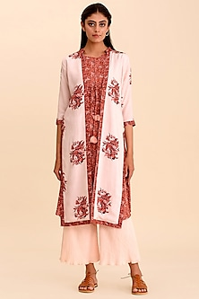 Pink & Red Printed Cape Set by Pasha