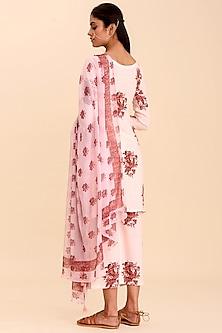 Pink Printed Kurta Set by Pasha