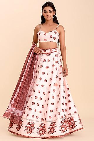 Pink Printed Lehenga Set With Lace Panels by Pasha
