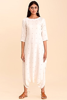 White Printed Dhoti Jumpsuit by Pasha