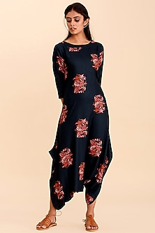 Navy Blue Printed Jumpsuit by Pasha